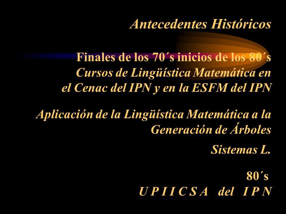 Antecedentes Históricos Finales de los 70´s inicios de los 80´s Cursos de Lingüística Matemática en el Cenac del IPN y en la ESFM del IPN Aplicación d
