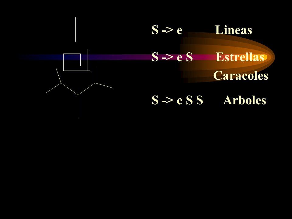 S -> e Lineas S -> e S Estrellas Caracoles S -> e S S Arboles