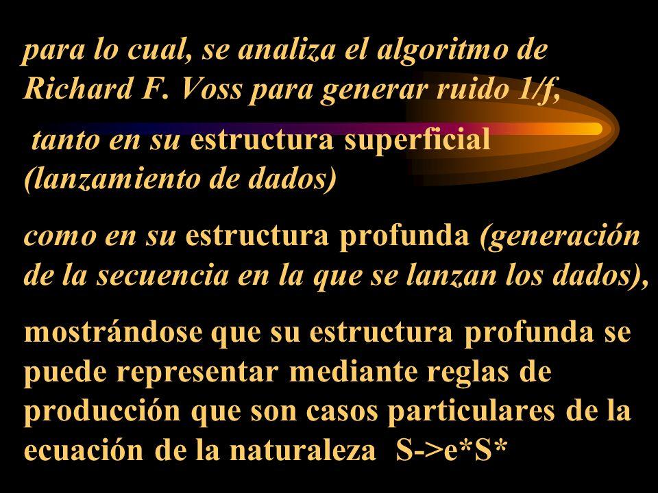 para lo cual, se analiza el algoritmo de Richard F. Voss para generar ruido 1/f, tanto en su estructura superficial (lanzamiento de dados) como en su
