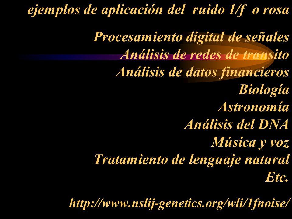 ejemplos de aplicación del ruido 1/f o rosa Procesamiento digital de señales Análisis de redes de transito Análisis de datos financieros Biología Astr
