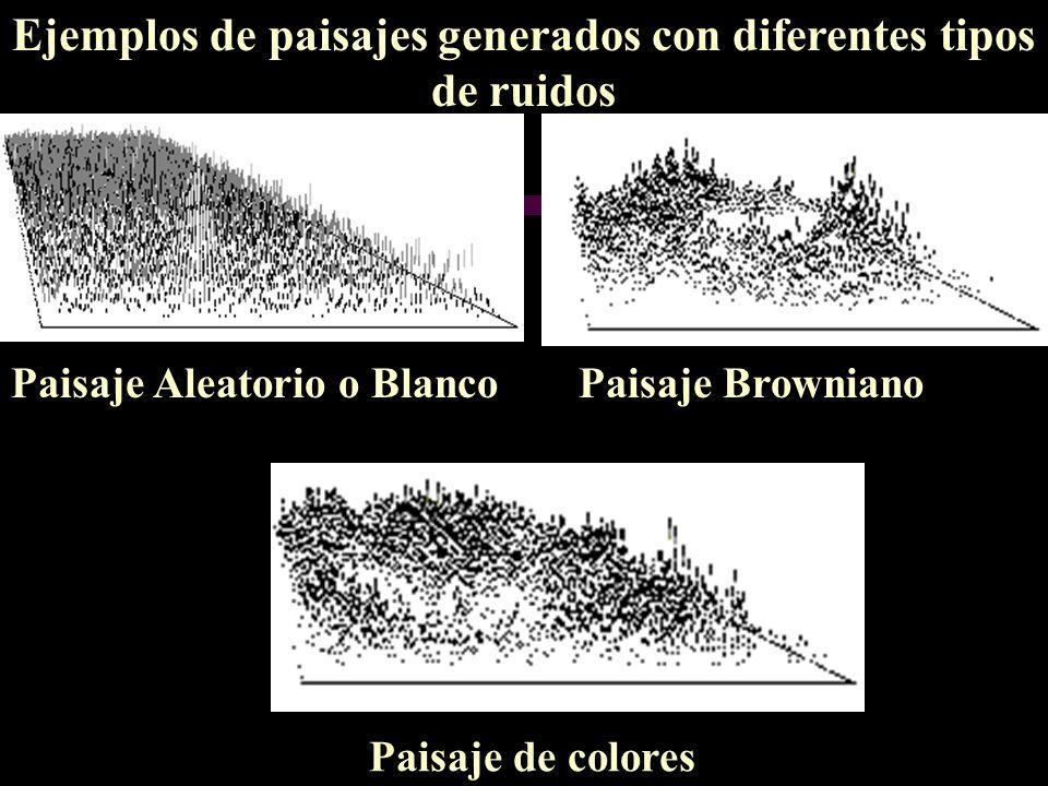 Ejemplos de paisajes generados con diferentes tipos de ruidos Paisaje Aleatorio o BlancoPaisaje Browniano Paisaje de colores