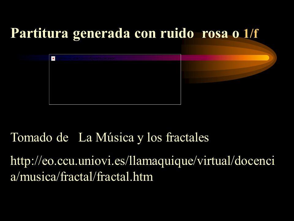 Partitura generada con ruido rosa o 1/f Tomado de La Música y los fractales http://eo.ccu.uniovi.es/llamaquique/virtual/docenci a/musica/fractal/fract
