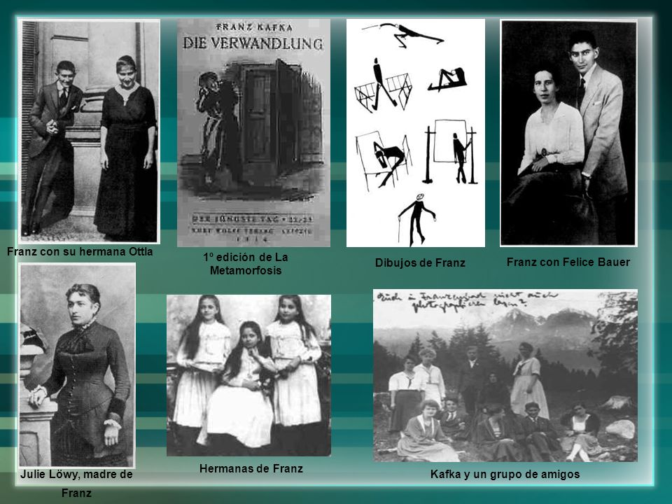 Franz con su hermana Ottla 1º edición de La Metamorfosis Dibujos de Franz Hermanas de Franz Julie Löwy, madre de Franz Kafka y un grupo de amigos Fran