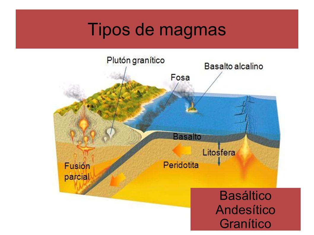 La cristalización del magma: Series de reacción de Bowen Mientras el magma asciende y se va enfriando, aquellos minerales que alcanzan su punto de solidificación (= punto de fusión) van cristalizando: diferenciación magmática Las series de reacción de Bowen son el conjunto ordenado de cambios que tienen lugar en una masa magmática durante su cristalización La cristalización de los diferentes minerales de la masa magmática sigue una pauta que depende de la temperatura y de la composición inicial del magma Al consolidarse el magma, los elementos que participan en la cristalización de algún mineral son retirados de la masa magmática, con lo que la composición química de la masa magmática restante va cambiando, por lo que ya no se podrán seguir formando los mismos minerales de antes Enfriamiento del magma Diferenciación magmática La sustitución de un ión por otro, cambia la composición química, pero no la estructura cristalina Un mineral ya formado reacciona con el fundido residual, originándose un nuevo mineral que puede sustituir al anterior a añadirse a la fracción cristalizada Magma máfico Magma intermedio Magma félsico Las series no se completan si falta algún elemento químico