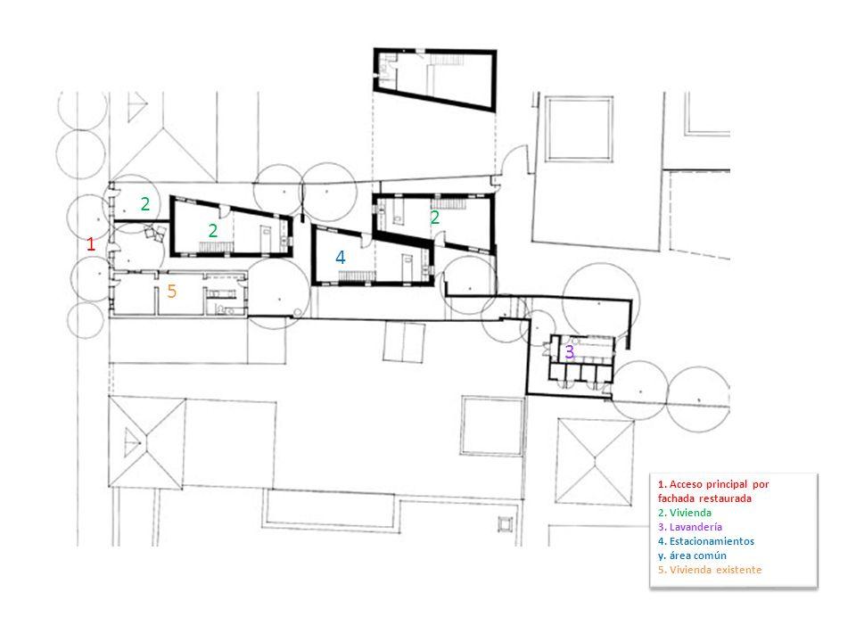 1. Acceso principal por fachada restaurada 2. Vivienda 3. Lavandería 4. Estacionamientos y. área común 5. Vivienda existente 1. Acceso principal por f