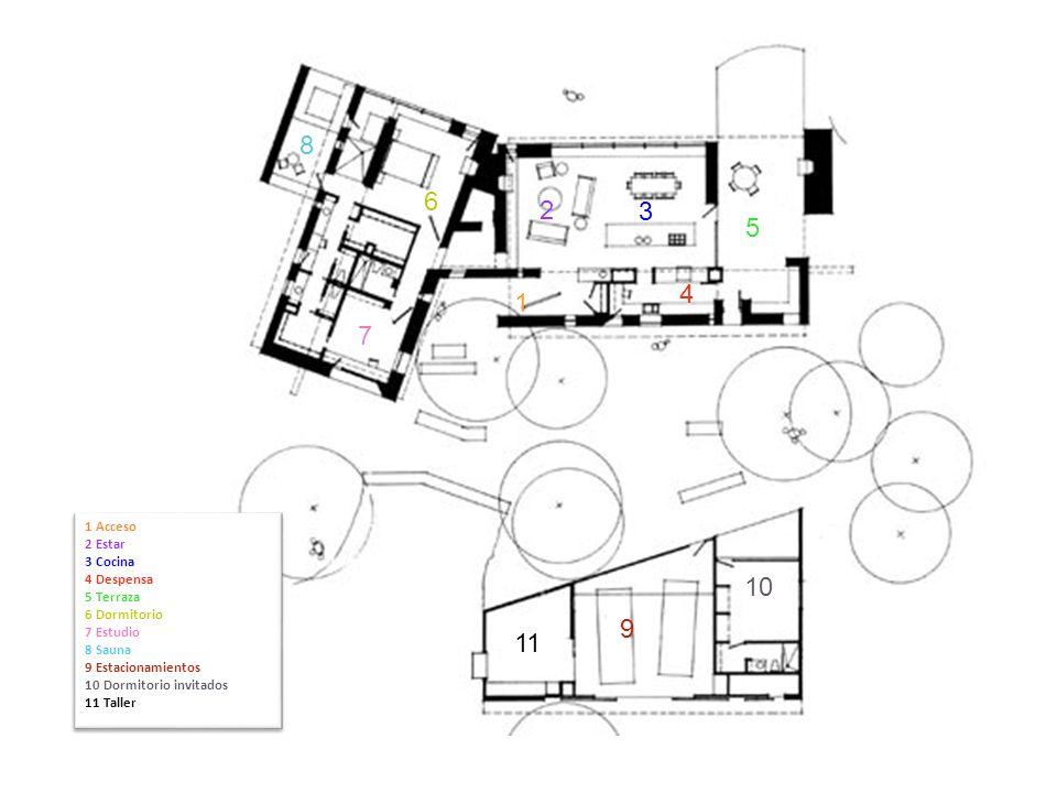 1 Acceso 2 Estar 3 Cocina 4 Despensa 5 Terraza 6 Dormitorio 7 Estudio 8 Sauna 9 Estacionamientos 10 Dormitorio invitados 11 Taller 1 Acceso 2 Estar 3
