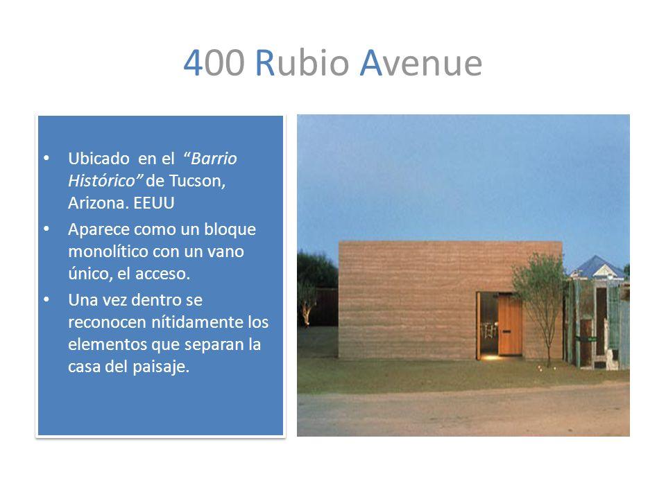 400 Rubio Avenue Ubicado en el Barrio Histórico de Tucson, Arizona. EEUU Aparece como un bloque monolítico con un vano único, el acceso. Una vez dentr