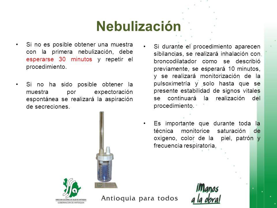 Si no es posible obtener una muestra con la primera nebulización, debe esperarse 30 minutos y repetir el procedimiento. Si no ha sido posible obtener