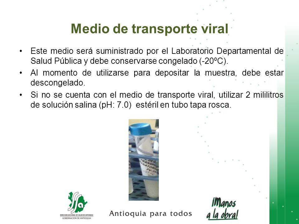 Medio de transporte viral Este medio será suministrado por el Laboratorio Departamental de Salud Pública y debe conservarse congelado (-20ºC). Al mome