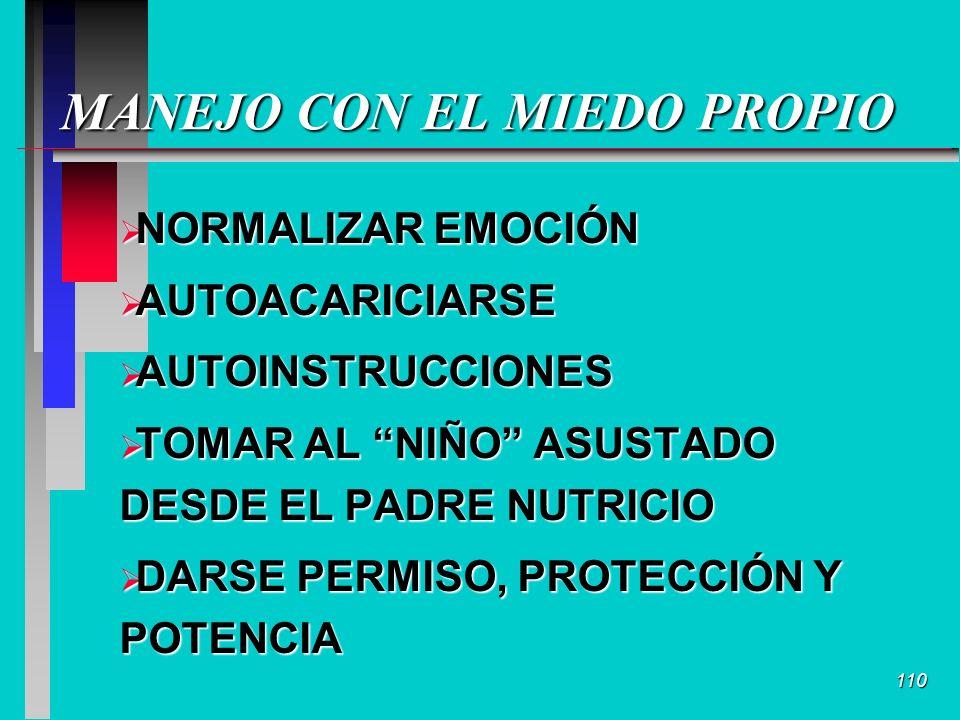 110 MANEJO CON EL MIEDO PROPIO NORMALIZAR EMOCIÓN NORMALIZAR EMOCIÓN AUTOACARICIARSE AUTOACARICIARSE AUTOINSTRUCCIONES AUTOINSTRUCCIONES TOMAR AL NIÑO ASUSTADO DESDE EL PADRE NUTRICIO TOMAR AL NIÑO ASUSTADO DESDE EL PADRE NUTRICIO DARSE PERMISO, PROTECCIÓN Y POTENCIA DARSE PERMISO, PROTECCIÓN Y POTENCIA