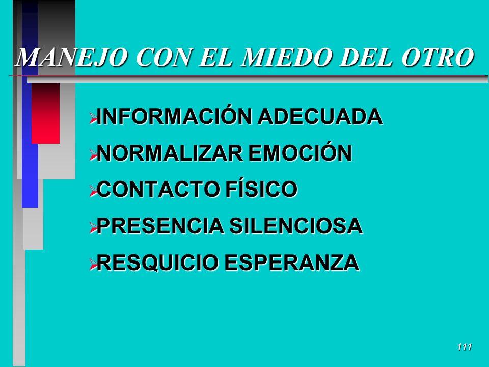 111 MANEJO CON EL MIEDO DEL OTRO INFORMACIÓN ADECUADA INFORMACIÓN ADECUADA NORMALIZAR EMOCIÓN NORMALIZAR EMOCIÓN CONTACTO FÍSICO CONTACTO FÍSICO PRESENCIA SILENCIOSA PRESENCIA SILENCIOSA RESQUICIO ESPERANZA RESQUICIO ESPERANZA