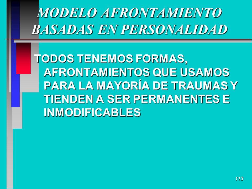 113 MODELO AFRONTAMIENTO BASADAS EN PERSONALIDAD TODOS TENEMOS FORMAS, AFRONTAMIENTOS QUE USAMOS PARA LA MAYORÍA DE TRAUMAS Y TIENDEN A SER PERMANENTES E INMODIFICABLES