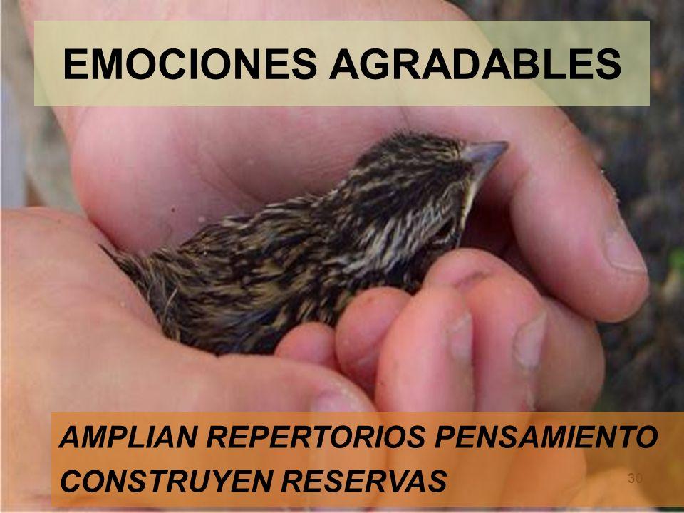 30 EMOCIONES AGRADABLES AMPLIAN REPERTORIOS PENSAMIENTO CONSTRUYEN RESERVAS