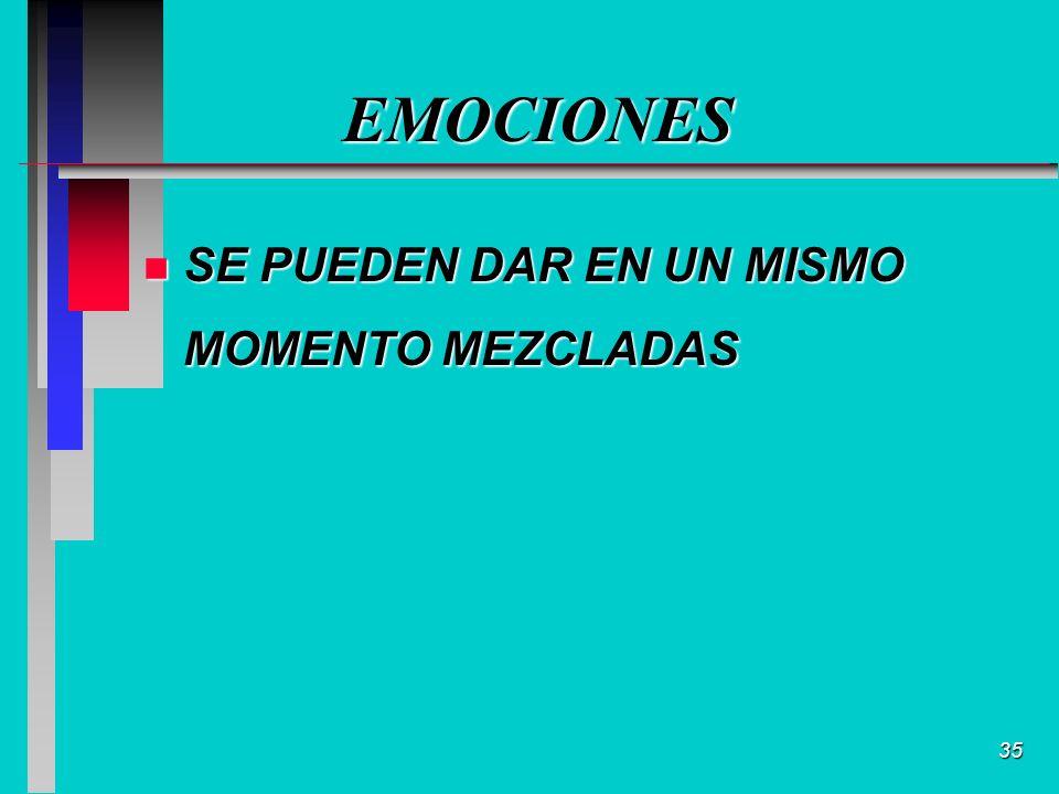 35 EMOCIONES n SE PUEDEN DAR EN UN MISMO MOMENTO MEZCLADAS