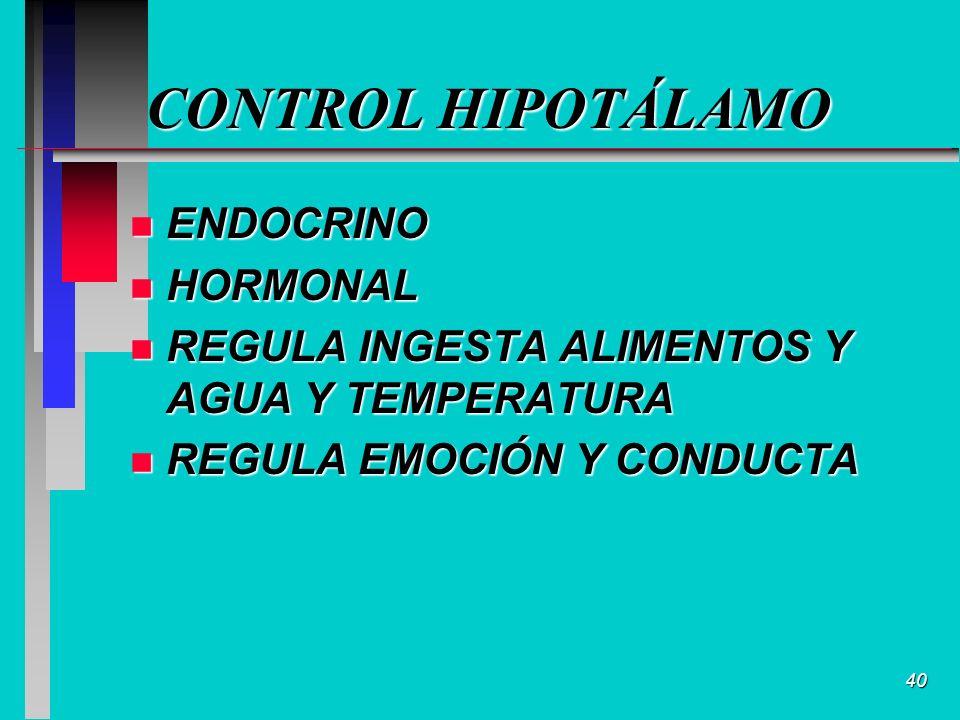 40 CONTROL HIPOTÁLAMO n ENDOCRINO n HORMONAL n REGULA INGESTA ALIMENTOS Y AGUA Y TEMPERATURA n REGULA EMOCIÓN Y CONDUCTA