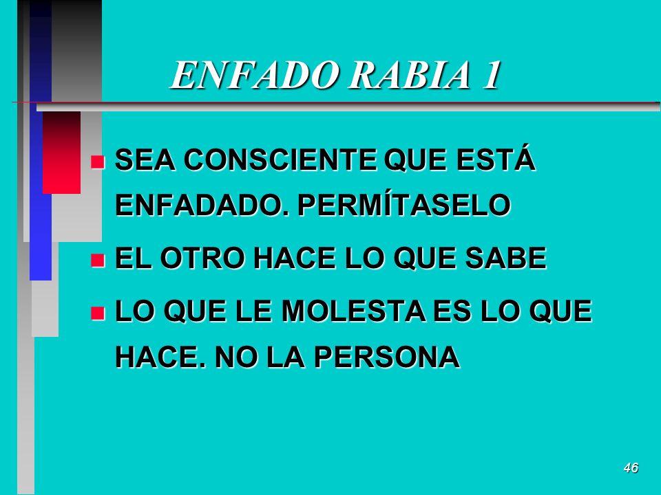 46 ENFADO RABIA 1 n SEA CONSCIENTE QUE ESTÁ ENFADADO.