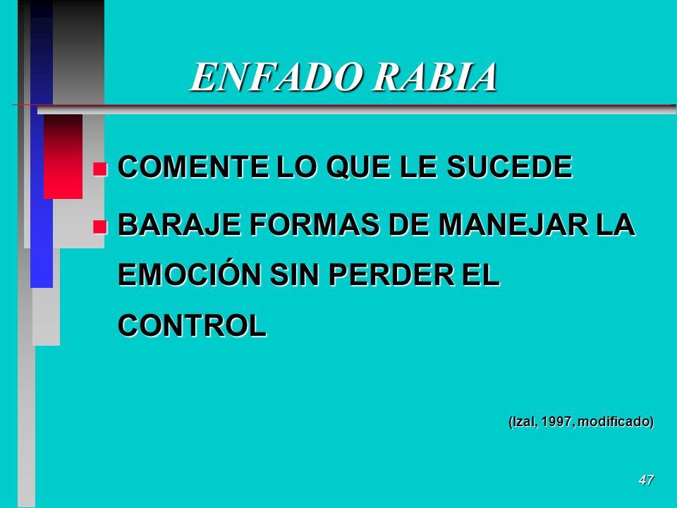 47 ENFADO RABIA n COMENTE LO QUE LE SUCEDE n BARAJE FORMAS DE MANEJAR LA EMOCIÓN SIN PERDER EL CONTROL (Izal, 1997, modificado)