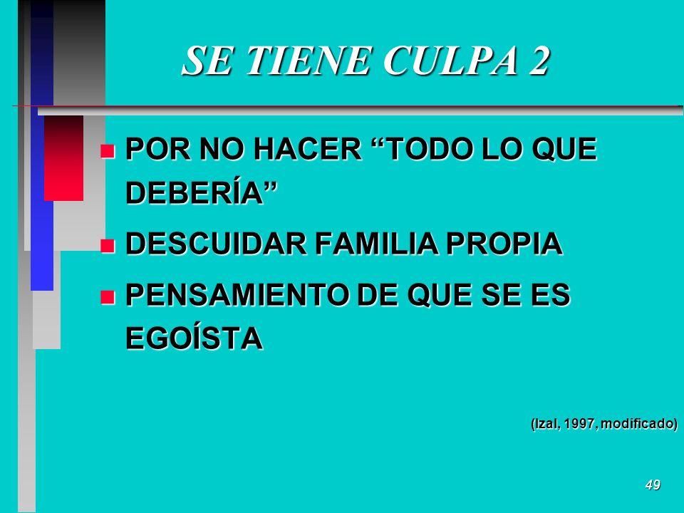 49 SE TIENE CULPA 2 n POR NO HACER TODO LO QUE DEBERÍA n DESCUIDAR FAMILIA PROPIA n PENSAMIENTO DE QUE SE ES EGOÍSTA (Izal, 1997, modificado)