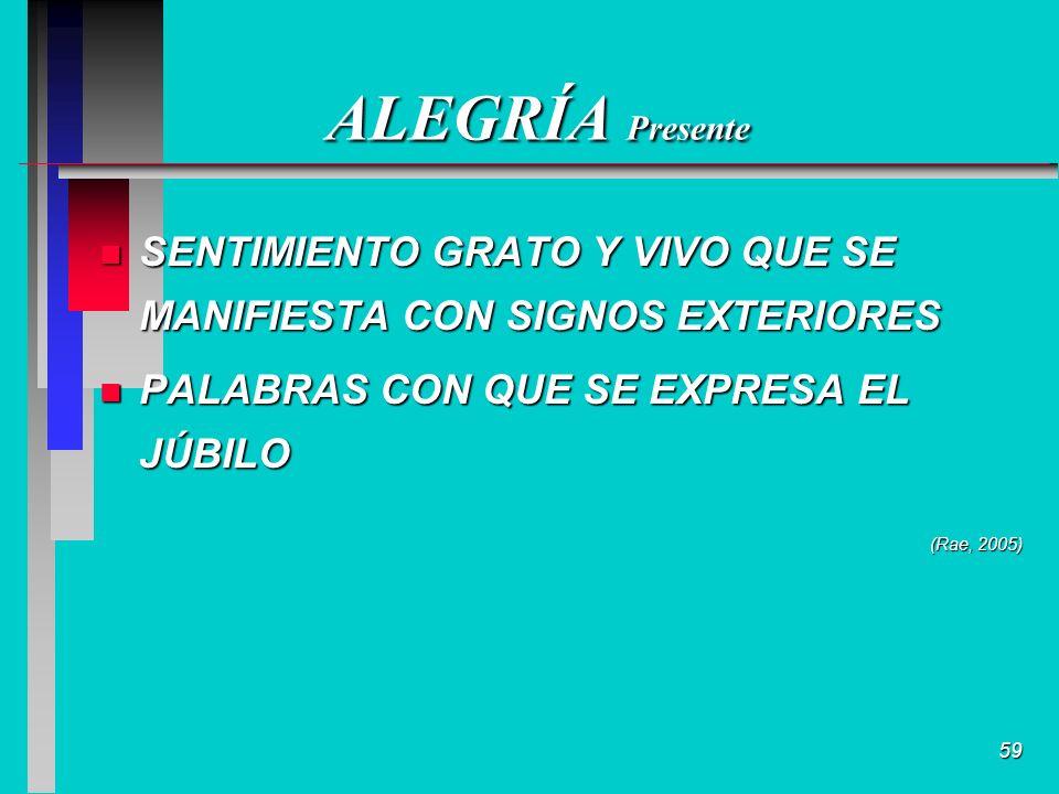 59 ALEGRÍA Presente n SENTIMIENTO GRATO Y VIVO QUE SE MANIFIESTA CON SIGNOS EXTERIORES n PALABRAS CON QUE SE EXPRESA EL JÚBILO (Rae, 2005)