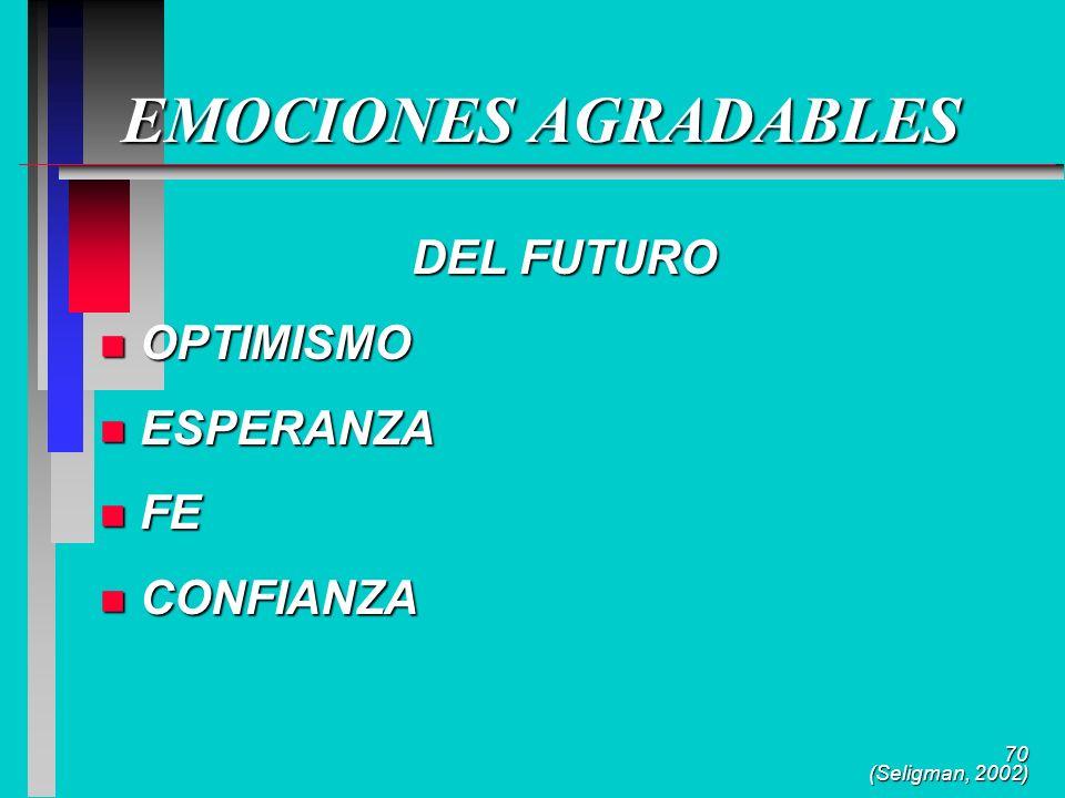 70 EMOCIONES AGRADABLES DEL FUTURO n OPTIMISMO n ESPERANZA n FE n CONFIANZA (Seligman, 2002)