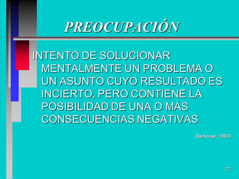 77 PREOCUPACIÓN INTENTO DE SOLUCIONAR MENTALMENTE UN PROBLEMA O UN ASUNTO CUYO RESULTADO ES INCIERTO, PERO CONTIENE LA POSIBILIDAD DE UNA O MÁS CONSECUENCIAS NEGATIVAS (Berkovec, 1983)