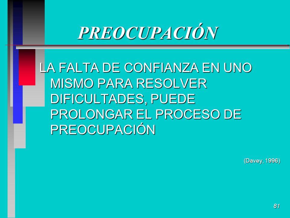 81 PREOCUPACIÓN LA FALTA DE CONFIANZA EN UNO MISMO PARA RESOLVER DIFICULTADES, PUEDE PROLONGAR EL PROCESO DE PREOCUPACIÓN (Davey, 1996)