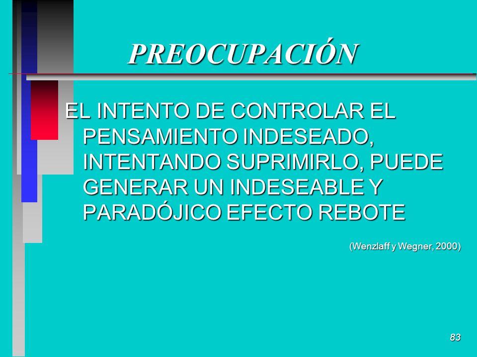 83 PREOCUPACIÓN EL INTENTO DE CONTROLAR EL PENSAMIENTO INDESEADO, INTENTANDO SUPRIMIRLO, PUEDE GENERAR UN INDESEABLE Y PARADÓJICO EFECTO REBOTE (Wenzlaff y Wegner, 2000)