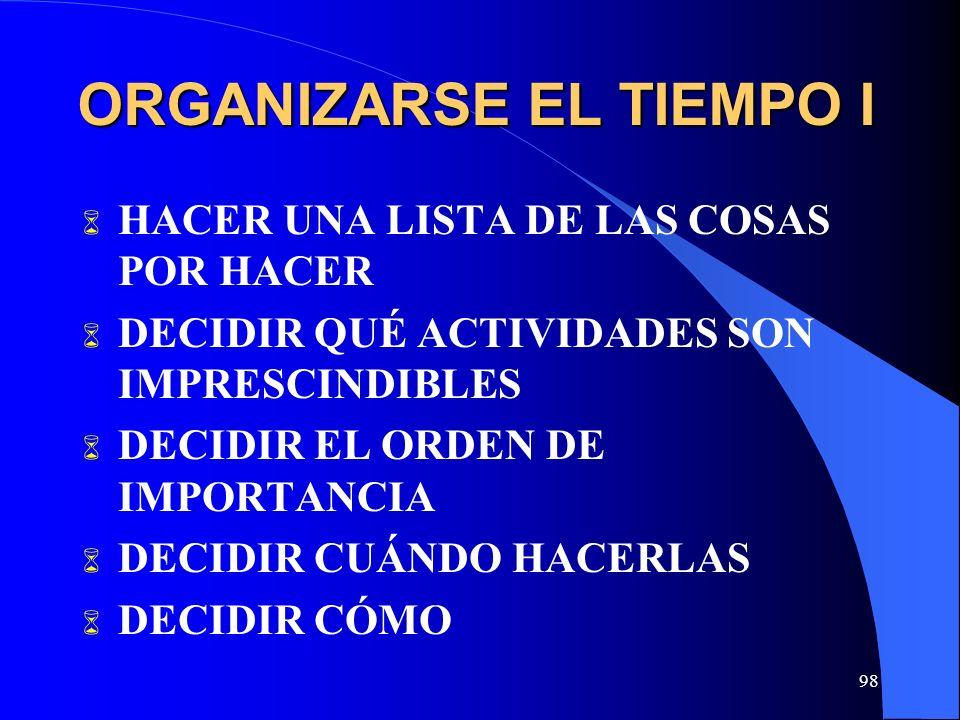98 ORGANIZARSE EL TIEMPO I HACER UNA LISTA DE LAS COSAS POR HACER DECIDIR QUÉ ACTIVIDADES SON IMPRESCINDIBLES DECIDIR EL ORDEN DE IMPORTANCIA DECIDIR CUÁNDO HACERLAS DECIDIR CÓMO
