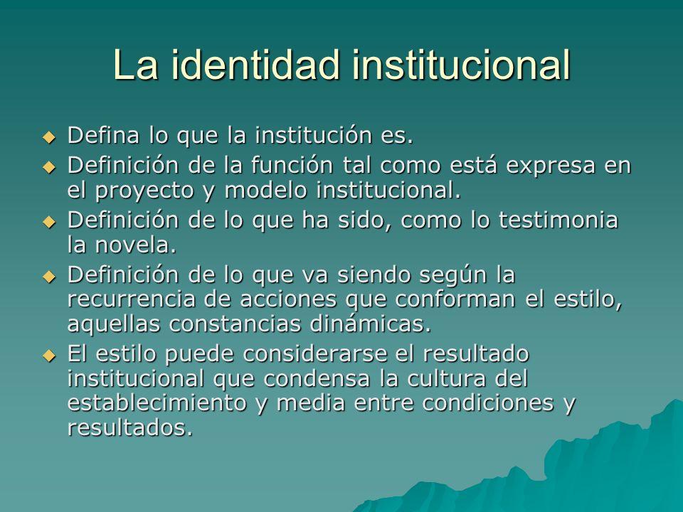 La identidad institucional Defina lo que la institución es. Defina lo que la institución es. Definición de la función tal como está expresa en el proy