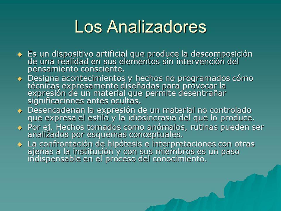 Los Analizadores Es un dispositivo artificial que produce la descomposición de una realidad en sus elementos sin intervención del pensamiento conscien