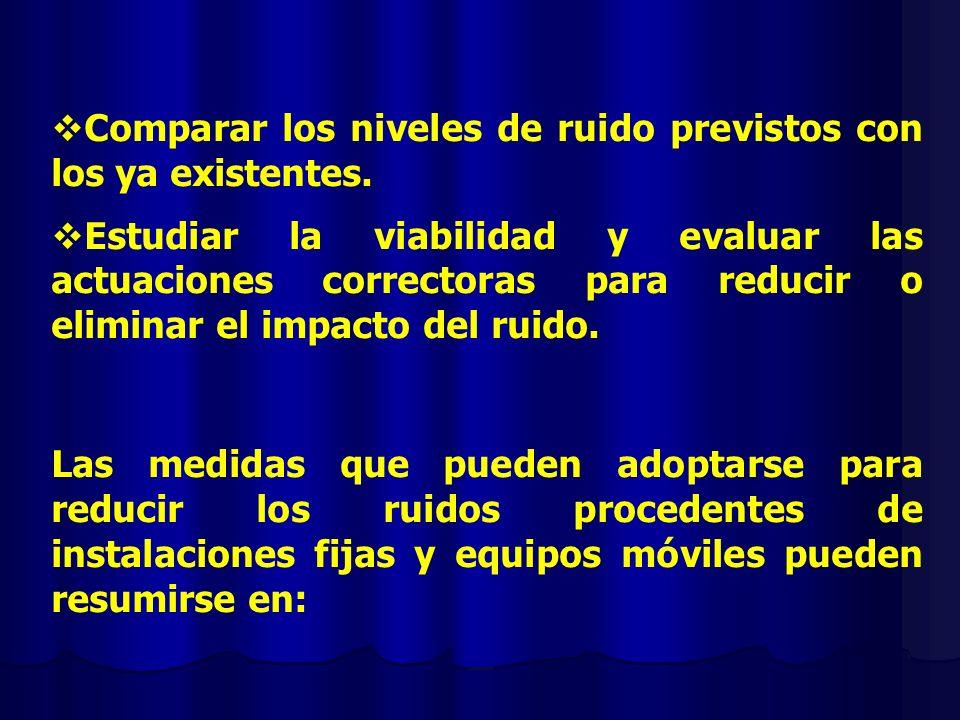 Comparar los niveles de ruido previstos con los ya existentes. Estudiar la viabilidad y evaluar las actuaciones correctoras para reducir o eliminar el