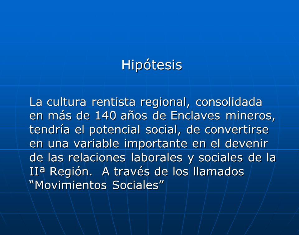 Hipótesis Hipótesis La cultura rentista regional, consolidada en más de 140 años de Enclaves mineros, tendría el potencial social, de convertirse en una variable importante en el devenir de las relaciones laborales y sociales de la IIª Región.