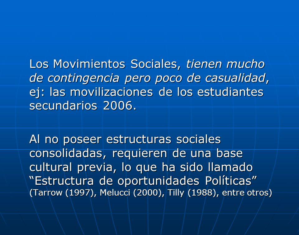 Los Movimientos Sociales, tienen mucho de contingencia pero poco de casualidad, ej: las movilizaciones de los estudiantes secundarios 2006. Al no pose