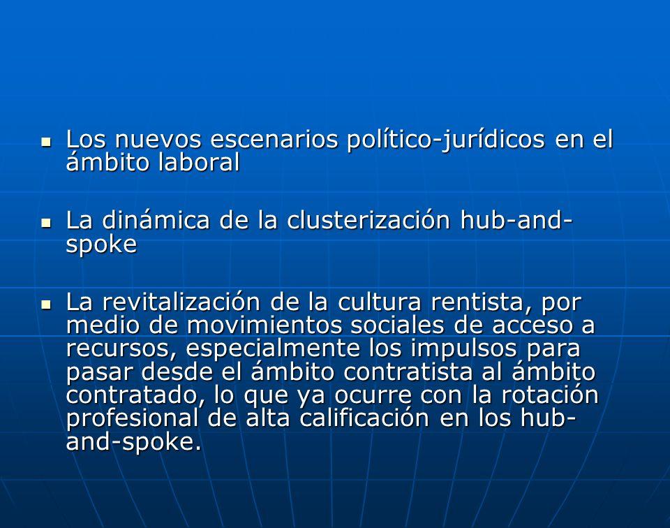 Los nuevos escenarios político-jurídicos en el ámbito laboral Los nuevos escenarios político-jurídicos en el ámbito laboral La dinámica de la clusteri