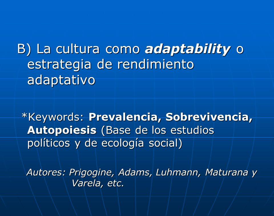 B) La cultura como adaptability o estrategia de rendimiento adaptativo *Keywords: Prevalencia, Sobrevivencia, Autopoiesis (Base de los estudios políticos y de ecología social) *Keywords: Prevalencia, Sobrevivencia, Autopoiesis (Base de los estudios políticos y de ecología social) Autores: Prigogine, Adams, Luhmann, Maturana y Varela, etc.