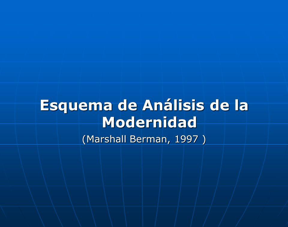 Esquema de Análisis de la Modernidad (Marshall Berman, 1997 )