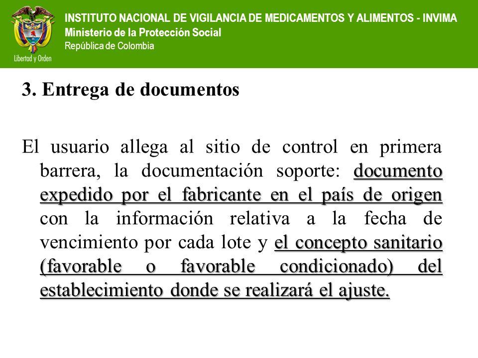 INSTITUTO NACIONAL DE VIGILANCIA DE MEDICAMENTOS Y ALIMENTOS - INVIMA Ministerio de la Protección Social República de Colombia 3. Entrega de documento