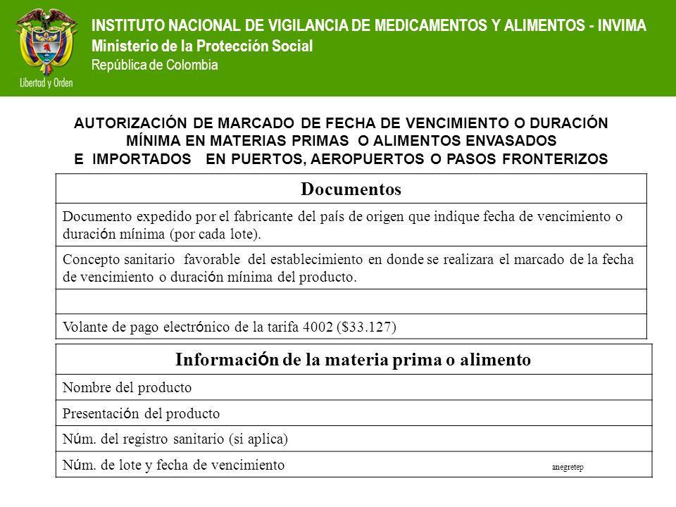INSTITUTO NACIONAL DE VIGILANCIA DE MEDICAMENTOS Y ALIMENTOS - INVIMA Ministerio de la Protección Social República de Colombia Documentos Documento ex
