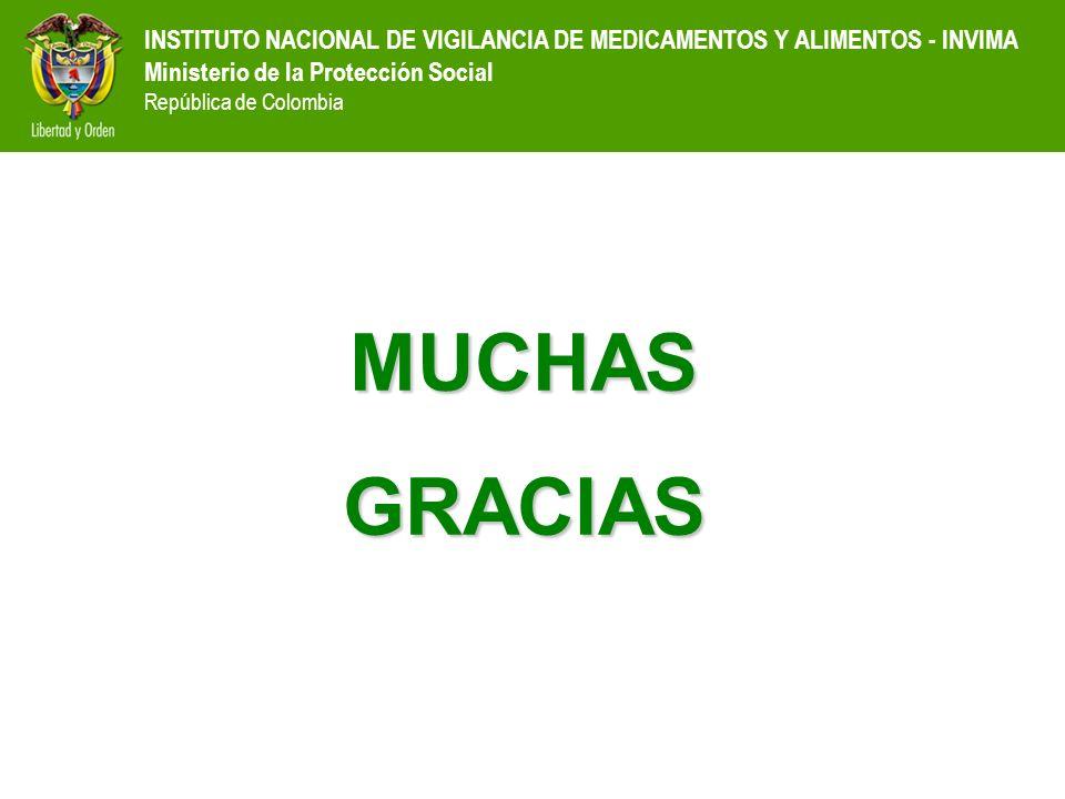 INSTITUTO NACIONAL DE VIGILANCIA DE MEDICAMENTOS Y ALIMENTOS - INVIMA Ministerio de la Protección Social República de Colombia MUCHASGRACIAS