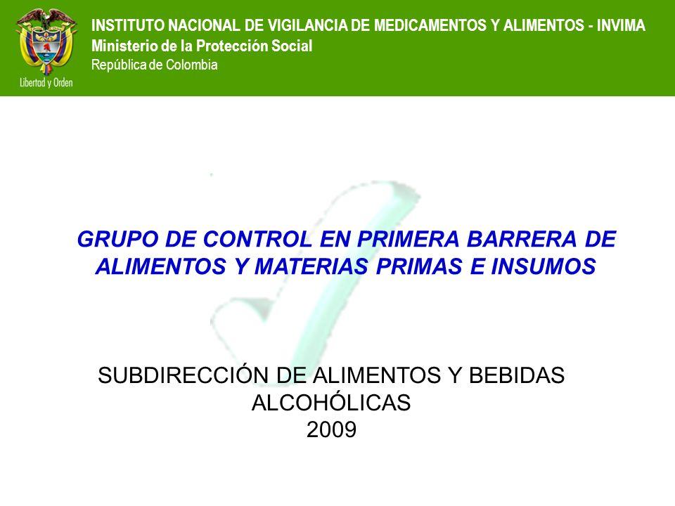 INSTITUTO NACIONAL DE VIGILANCIA DE MEDICAMENTOS Y ALIMENTOS - INVIMA Ministerio de la Protección Social República de Colombia GRUPO DE CONTROL EN PRI