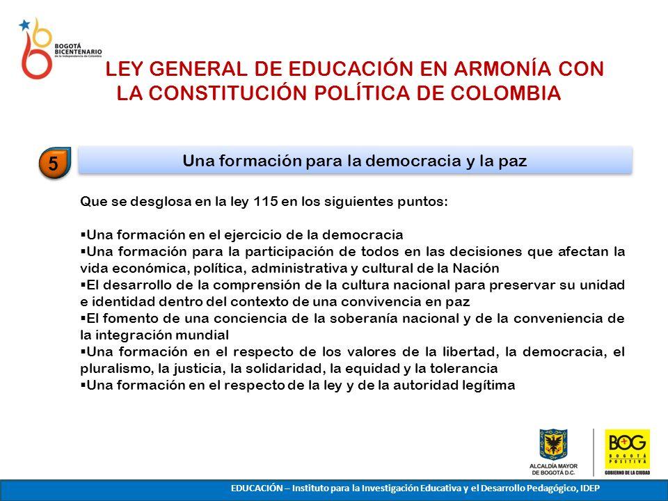 Que se desglosa en la ley 115 en los siguientes puntos: Una formación en el ejercicio de la democracia Una formación para la participación de todos en