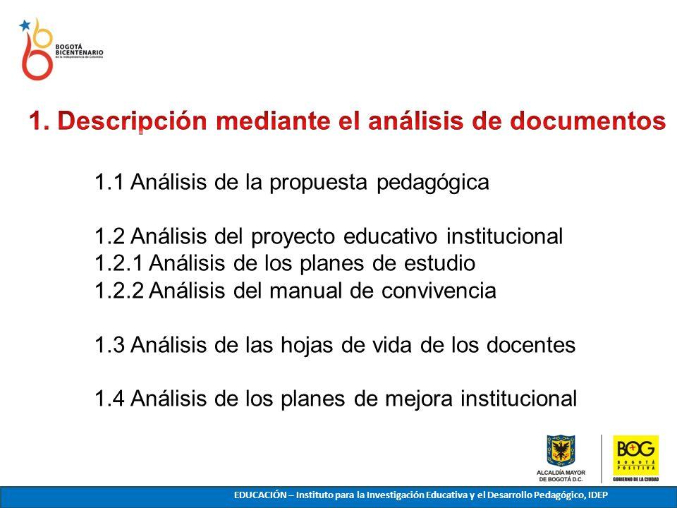 1.1 Análisis de la propuesta pedagógica 1.2 Análisis del proyecto educativo institucional 1.2.1 Análisis de los planes de estudio 1.2.2 Análisis del m