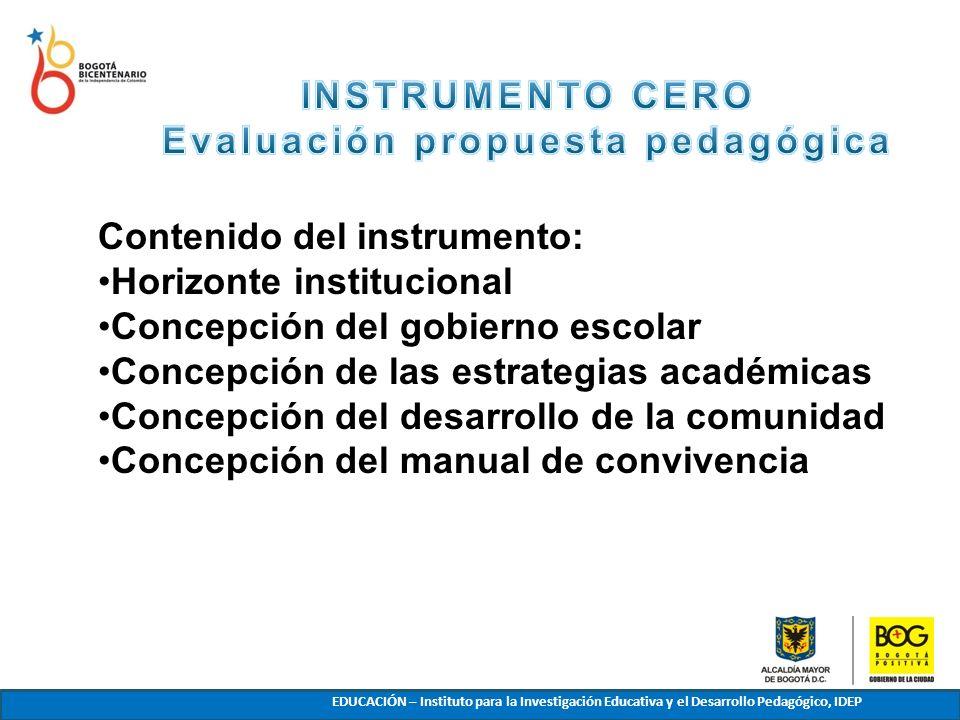 EDUCACIÓN – Instituto para la Investigación Educativa y el Desarrollo Pedagógico, IDEP Contenido del instrumento: Horizonte institucional Concepción d