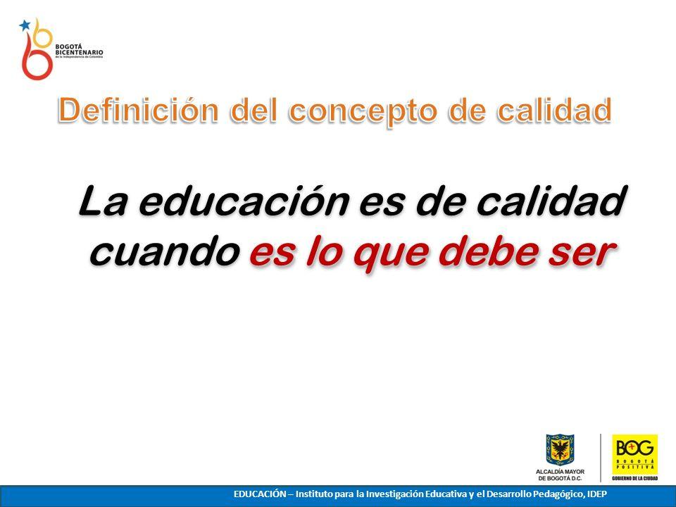 es lo que debe ser La educación es de calidad cuando es lo que debe ser INTRODUCCIÓN EDUCACIÓN – Instituto para la Investigación Educativa y el Desarr