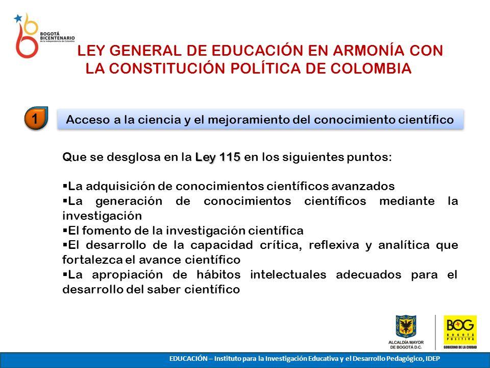 LA LEY GENERAL DE EDUCACIÓN EN ARMONÍA CON LA CONSTITUCIÓN POLÍTICA DE COLOMBIA Ley 115 Que se desglosa en la Ley 115 en los siguientes puntos: La adq