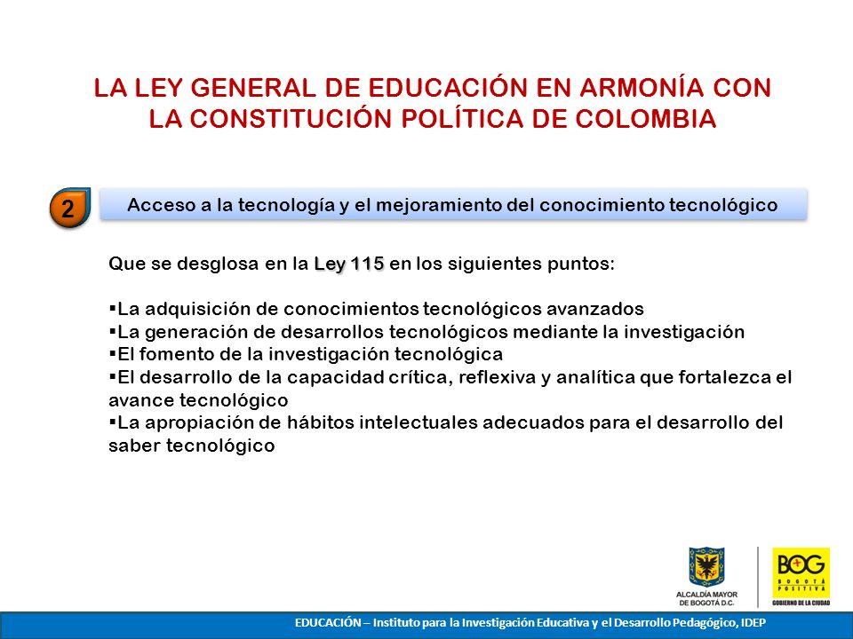 Ley 115 Que se desglosa en la Ley 115 en los siguientes puntos: La adquisición de conocimientos tecnológicos avanzados La generación de desarrollos te