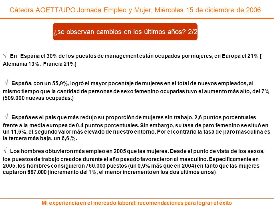 Cátedra AGETT/UPO Jornada Empleo y Mujer, Miércoles 15 de diciembre de 2006 Mi experiencia en el mercado laboral: recomendaciones para lograr el éxito En España el 30% de los puestos de management están ocupados por mujeres, en Europa el 21% [ Alemania 13%, Francia 21%] España, con un 55,9%, logró el mayor pocentaje de mujeres en el total de nuevos empleados, al mismo tiempo que la cantidad de personas de sexo femenino ocupadas tuvo el aumento más alto, del 7% (509.000 nuevas ocupadas.) España es el pais que más redujo su proporción de mujeres sin trabajo, 2,6 puntos porcentuales frente a la media europea de 0,4 puntos porcentuales.
