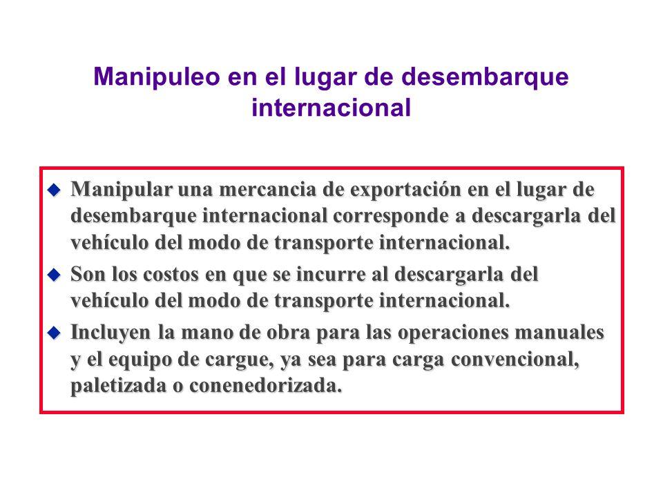 Manipuleo en el lugar de desembarque internacional u Manipular una mercancia de exportación en el lugar de desembarque internacional corresponde a des
