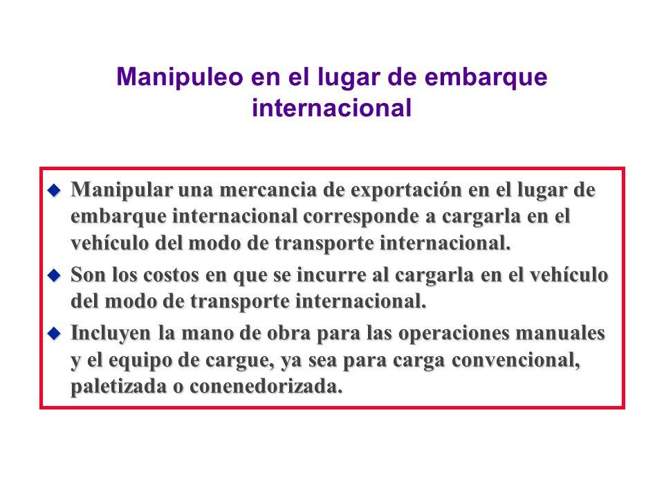 Manipuleo en el lugar de embarque internacional u Manipular una mercancia de exportación en el lugar de embarque internacional corresponde a cargarla