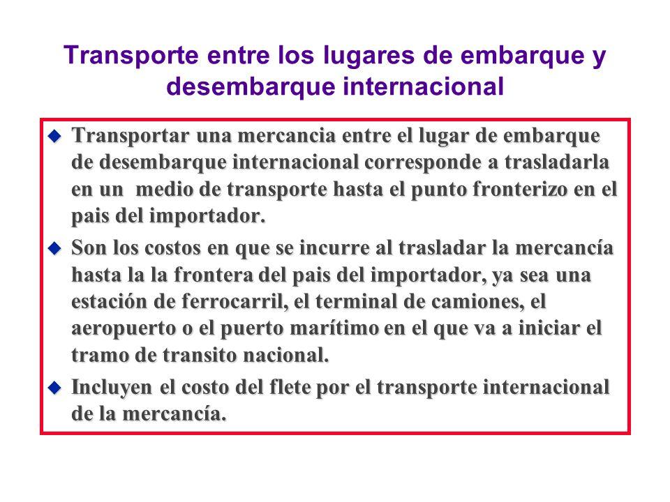 Transporte entre los lugares de embarque y desembarque internacional u Transportar una mercancia entre el lugar de embarque de desembarque internacion